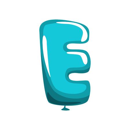 Ilustración de Capital letter E in shape of a blue balloon. - Imagen libre de derechos