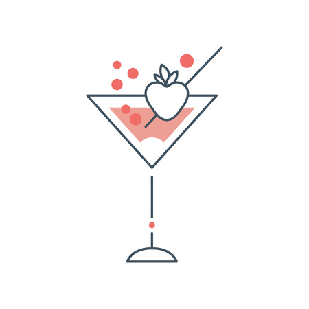 Illustration pour Delicious martini cocktail in glass with strawberry. Concept of alcoholic beverage. Icon in linear style with pink fill. Flat vector illustration isolated on white. Design for menu, logo or sticker. - image libre de droit