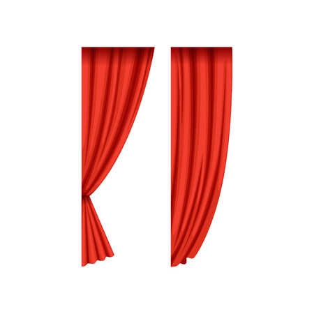 Illustration pour Two red silk or velvet theatrical curtains for left side of the stage. Scarlet drapery with light and shadows. Concert hall design element. Flat vector. - image libre de droit