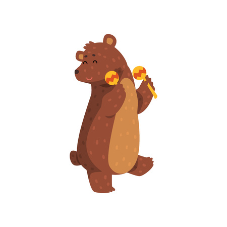 Ilustración de Happy brown bear dancing with maracas. Cartoon character of wild animal with short tail, small rounded ears and paws with claws. Isolated flat vector design for greeting card, sticker or children book - Imagen libre de derechos
