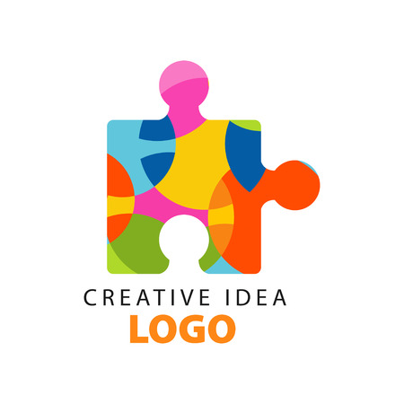 Ilustración de Creative idea geometric logo concept design template with abstract colorful puzzle piece. - Imagen libre de derechos