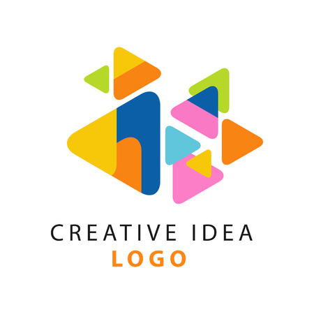 Illustration for Abstract creative idea logo template. Educational business or hub emblem, children center of creativity label concept. Flat vector on white. - Royalty Free Image