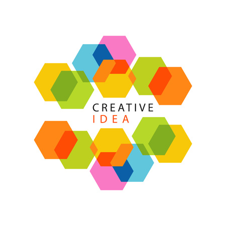Ilustración de Educational center or business hub creative idea logo with abstract pattern made of hexagons. Minimalistic label design. Vector isolated on white. - Imagen libre de derechos