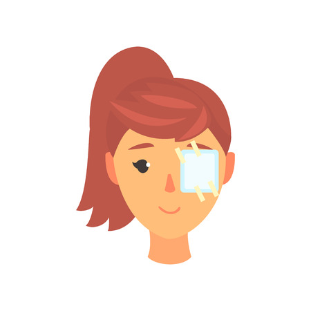Illustration pour Young woman with plaster patch on her eye, ophthalmology concept cartoon vector Illustration on a white background - image libre de droit