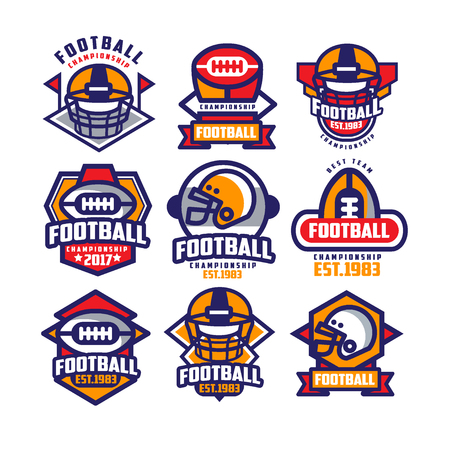 Ilustración de Collection of colorful American football logo. Labels with oval-shaped rugby balls and protective helmets. Sports emblems. Design for team badge. Flat vector illustration isolated on white background. - Imagen libre de derechos