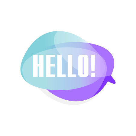 Ilustración de Colored transparent speech bubble with text Hello . Blue and purple cloud with greeting message. Vector illustration isolated on white background. - Imagen libre de derechos