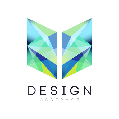 Illustration pour Creative geometric icon in gradient blue and green colors. Abstract logo template. Company branding identity. Vector design for web site, mobile app or business card - image libre de droit