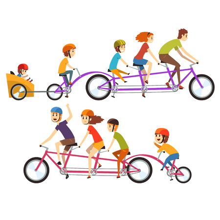 Illustration for Colorful illustration of two happy families riding on big tandem bike. Concept of funny recreation with kids. Cartoon people characters with smiling faces expressions. Isolated flat vector design. - Royalty Free Image