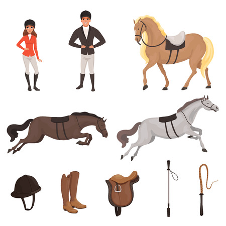 Illustration pour Cartoon jockey icons set with professional equipment for horse riding. Woman and man in special uniform with helmet. Equestrian sport concept. Flat vector design - image libre de droit