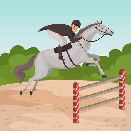 Ilustración de Smiling man jockey on gray horse jumping over hurdle. Male character in equestrian helmet, dark-colored coat and white pants. Nature landscape. Flat vector design - Imagen libre de derechos
