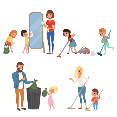 Illustration pour Children helping their parents with housework. Sweeping, vacuuming, washing floor, throwing out garbage, cleaning mirror. Cartoon kids characters. Flat vector design - image libre de droit