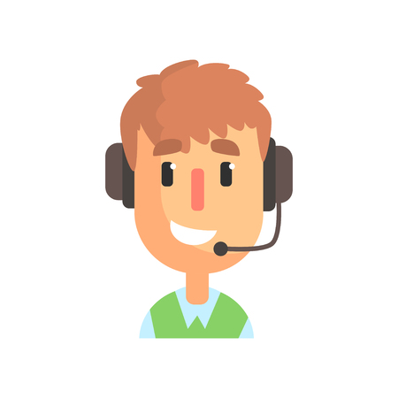 Ilustración de Smiling male call center worker, online customer support service assistant with headphones cartoon vector Illustration isolated on a white background - Imagen libre de derechos