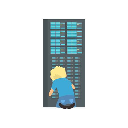 Ilustración de Network engineer administrator working in data center, server rack networking service cartoon vector illustration - Imagen libre de derechos