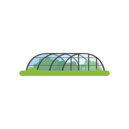 Illustration for Greenhouse with glass walls, farm building vector Illustration - Royalty Free Image