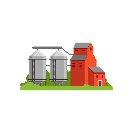 Illustration for Agricultural silo towers and farm buildings, countryside life object vector Illustration - Royalty Free Image