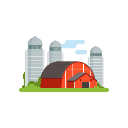 Illustration for Agricultural silo towers and red barn, countryside life object vector Illustration on a white background. - Royalty Free Image