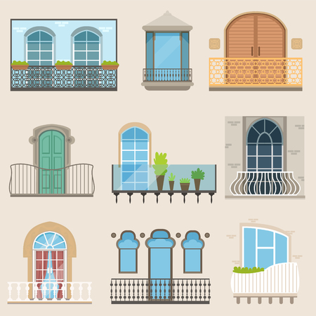 Illustration pour Detailed balcony set in different styles. Classical, modern and decorative forged balconies. Flat cartoon vector, isolated architecture building elements - image libre de droit