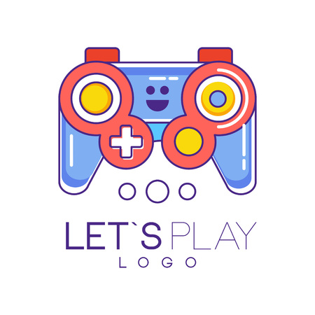 Illustration pour Xbox gamepad logo design in line style with red and blue fill. Wireless joystick for game console. Graphic element for gadget store, developers company. Colorful vector illustration isolated on white. - image libre de droit