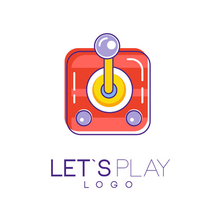 Illustration pour Joystick for computer video games. Creative linear icon with red, yellow and purple fill. Vector design for device store, logo, website or mobile app - image libre de droit