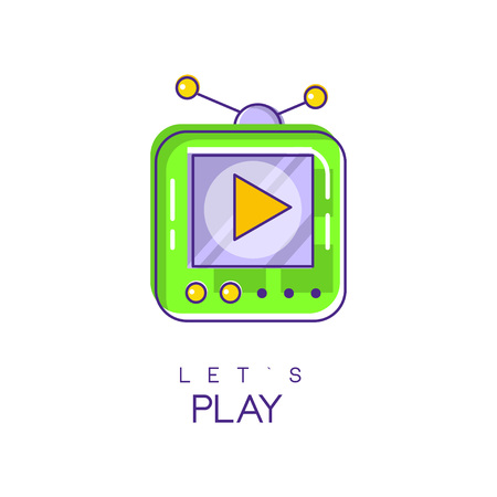 Illustration pour Electronic gadget icon game console icon in linear style with green and purple fill. Play device digital technology concept vector design for mobile app or web site. - image libre de droit