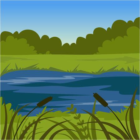 Illustration for Green summer landscape with lake, nature background vector illustration - Royalty Free Image