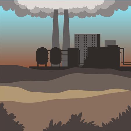 Illustration pour Industrial buildings, modern city landscape, contaminated environment background vector illustration - image libre de droit