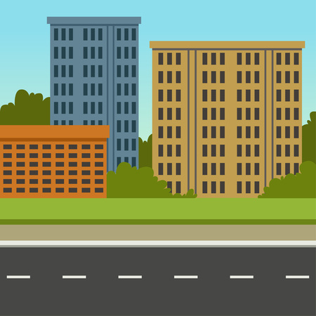 Illustration for City street with road and city buildings, summer landscape, modern urban background vector illustration - Royalty Free Image