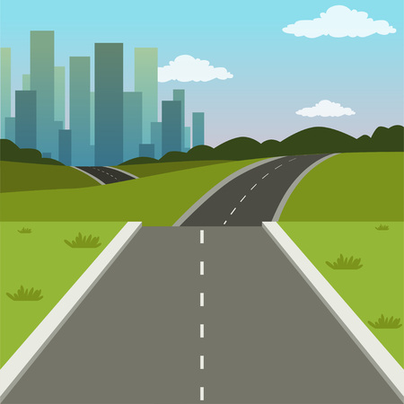 Illustration pour Summer green landscape with road and city buildings, road to the city, nature background vector illustration - image libre de droit