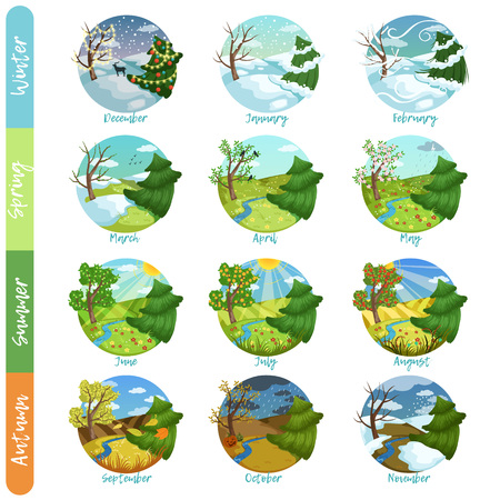 Illustration pour Twelve months of the year set, four seasons nature landscape winter, spring, summer, autumn vector illustrations isolated on a white background - image libre de droit