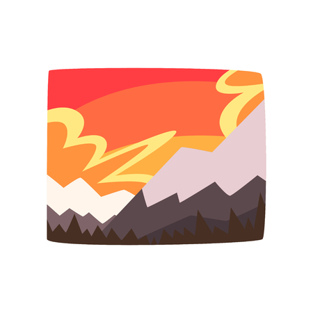 Illustration for Snowy rocky mountains at sunset, beautiful landscape background, horizontal vector illustration on a white background - Royalty Free Image