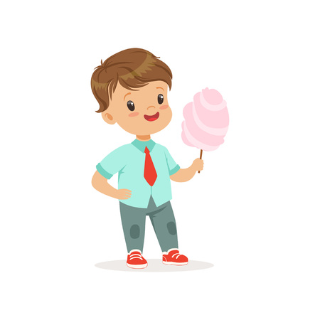 Illustration pour Cartoon little boy standing and holding big stick of cotton candy. Kid with cheerful face expression wearing casual clothes blue shirt and jeans. Flat vector design - image libre de droit