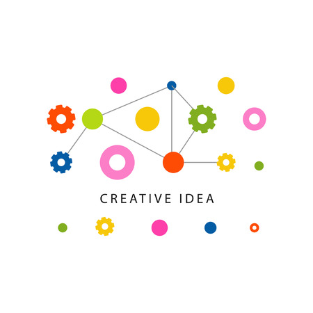 Illustrazione per Creative idea template with colorful gears and other details. Educational business label. Abstract concept of brainstorm mechanism. - Immagini Royalty Free