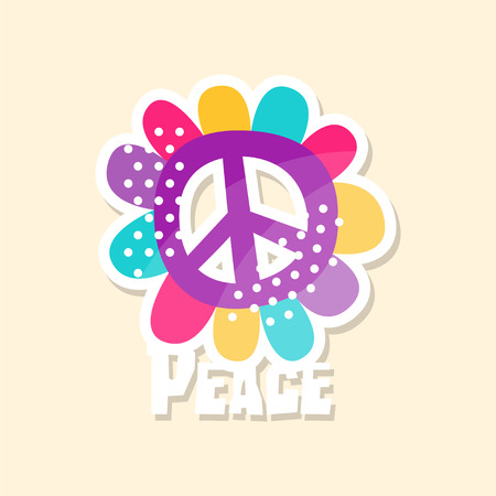 Ilustración de Colorful peace sign, cute sticker in bright colors, fashion patch vector illustration, badge in cartoon style  - Imagen libre de derechos