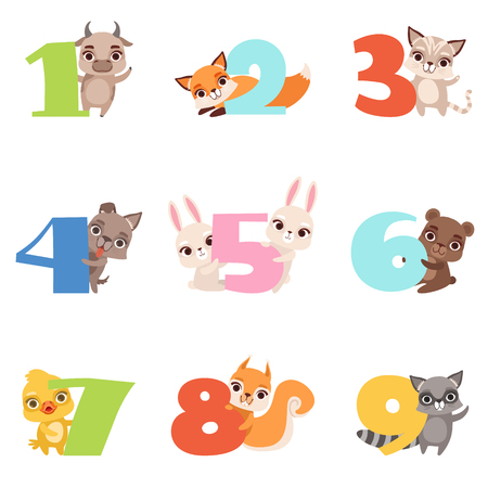 Ilustración de Cartoon set with colorful numbers from 1 to 9 and various animals. Calf, fox, cat, dog, rabbit, bear, duckling, squirrel and raccoon. Flat vector design for kids education cards, books or posters. - Imagen libre de derechos