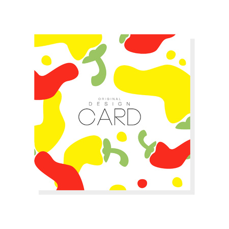Ilustración de Creative illustration with abstract hot red and yellow pepper. Organic vegetable concept. Graphic design for grocery store, product label or farmer market. Colorful vector isolated on white background - Imagen libre de derechos