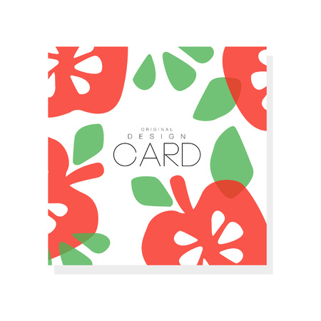 Ilustración de Bright fruit card with red apples and green leaves, vegetarian nutrition. Organic and tasty food abstract design for farmer market or grocery store. Hand drawn vector illustration isolated on white background. - Imagen libre de derechos