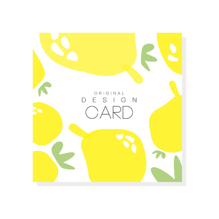 Ilustración de Original card template with lemons, citrus fruit concept. Organic food healthy nutrition graphic design for product label or packing sweets. Colorful vector illustration isolated on white background. - Imagen libre de derechos