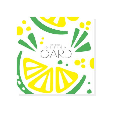 Ilustración de Abstract card with slices of juicy lime Healthy nutrition. Organic and tasty food. Tropical fruit. Eco product. Colorful vector design for invitation or promo flyer - Imagen libre de derechos