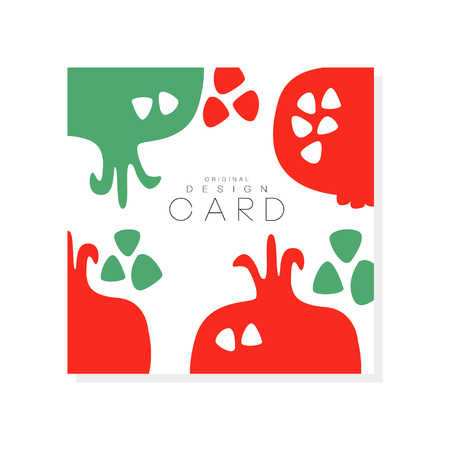 Ilustración de Creative square card with red pomegranate. Natural and healthy eating. Tropical fruit. Organic and tasty nutrition. Product surface design. Abstract vector illustration - Imagen libre de derechos