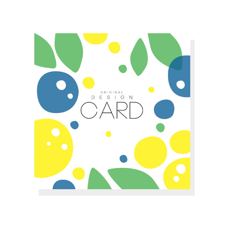 Ilustración de Bright summer card template with plums, lemons and green leaves. Abstract colorful fruits design for invitation, poster or product emblem. Creative vector illustration isolated on white background. - Imagen libre de derechos