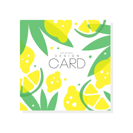Ilustración de Abstract fruit card with juicy lemons, limes and green leaves. Summer poster. Sweet food. Creative vector design for farmer market or grocery store - Imagen libre de derechos