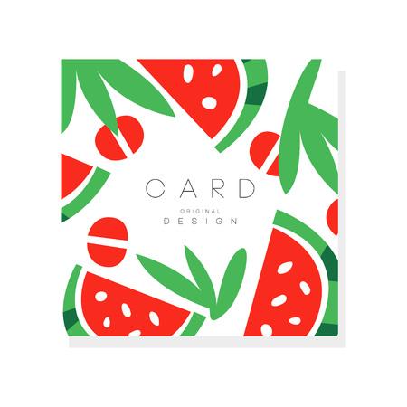 Ilustración de Original illustration with pieces of ripe watermelon. Sweet summer fruit. Healthy nutrition. Organic food. Vector design for invitation card, promo poster or cafe menu - Imagen libre de derechos
