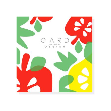 Ilustración de Colorful summer poster with pieces of ripe apple and green leaves. Organic and tasty fruit. - Imagen libre de derechos