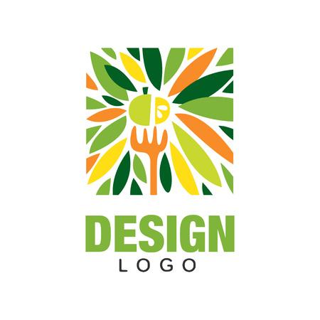 Ilustración de Colorful fruit logo. Healthy food concept. Original label template in rectangular shape. - Imagen libre de derechos