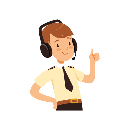Ilustración de Air traffic controller character, boy in uniform with headset of vector Illustration on a white background - Imagen libre de derechos