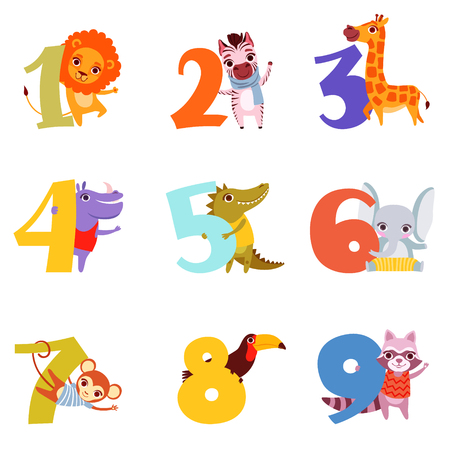 Illustration for Set of colorful numbers from 1 to 9 and different animals. Cartoon lion, zebra, giraffe, hippopotamus, crocodile, elephant, monkey, toucan and raccoon flat vector design for children's education book. - Royalty Free Image