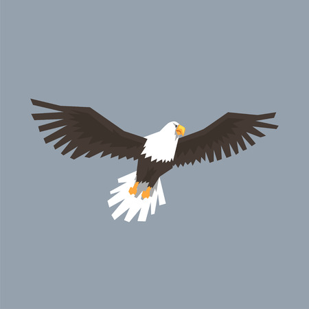 Illustration pour North American Bald Eagle flying, symbol of freedom and independence vector illustration - image libre de droit