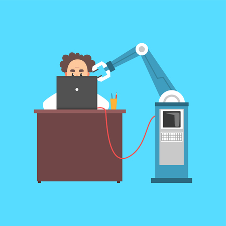 Illustration pour Male scientist cartoon character working with computer and robotic arm in a laboratory cartoon vector illustration. - image libre de droit