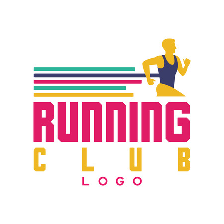 Ilustración de Running club logo, emblem with abstract running man, label for sports club, sport tournament, competition, marathon and healthy lifestyle vector illustration on a white background - Imagen libre de derechos