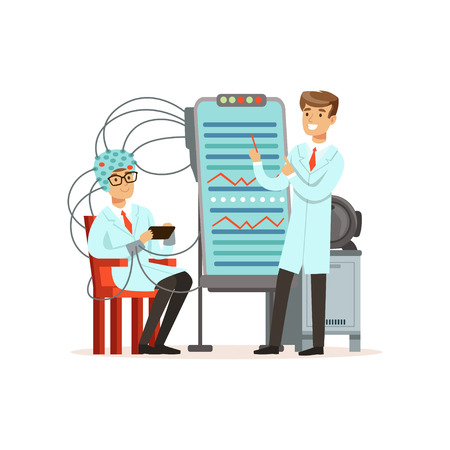 Illustration pour Male scientist conducting experiment in a modern laboratory, electroencephalography, man in a helmet for brain research vector illustration - image libre de droit